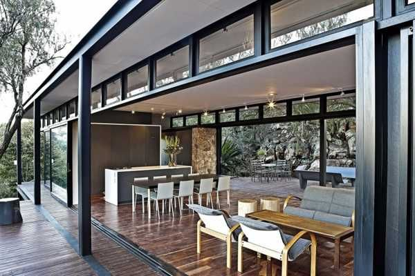 Modern House Design Blending Stone Steel And Wood Into Modernist