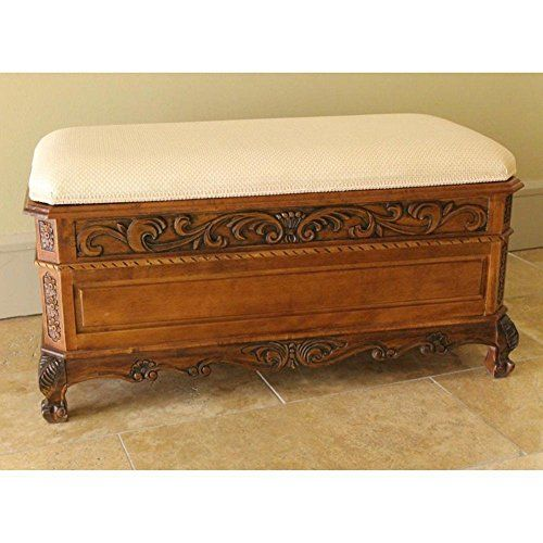 Majestic Hardwood Antique Style Bed Bench with Cushion and Storage - Used Bedroom Sets