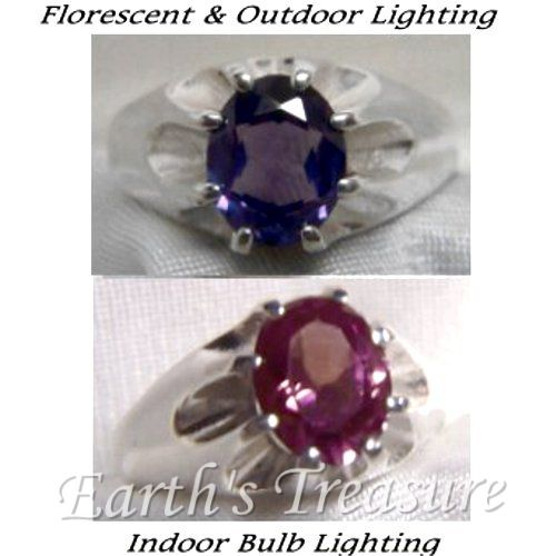 Magical Color Changing Created Alexandrite Men's Gypsy Ring. It goes from wine color indoors to purple in fluorescent & outdoor lighting.