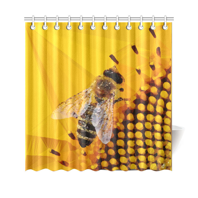 Honey Bee Sunflower Low Poly Floral Shower Curtain 69