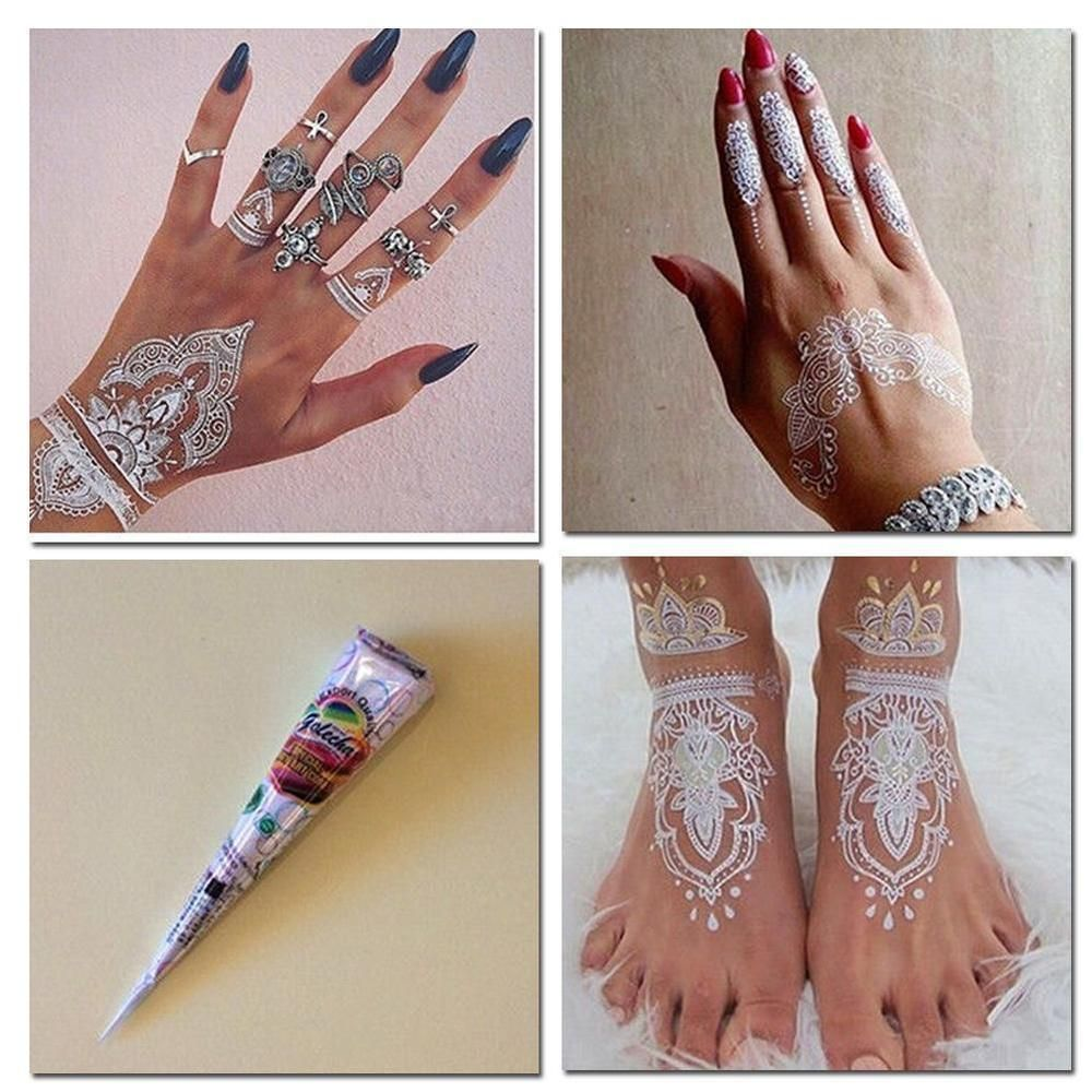 White Wedding Dress With Henna: BRIDAL WHITE HENNA CONE