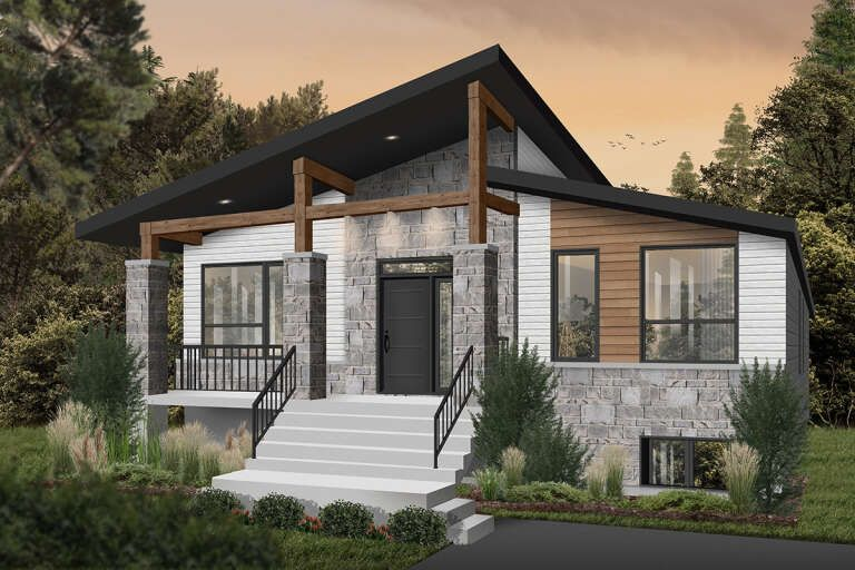 House Plan 034 01238 Modern Plan 1 156 Square Feet 2 Bedrooms 1 Bathroom Small House Exteriors Mountain Home Exterior Contemporary House Plans