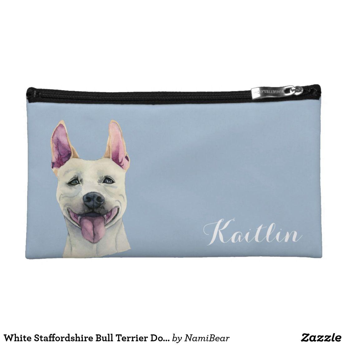 9282e72fa6a5 White Staffordshire Bull Terrier Dog Watercolor Cosmetic Bag ...