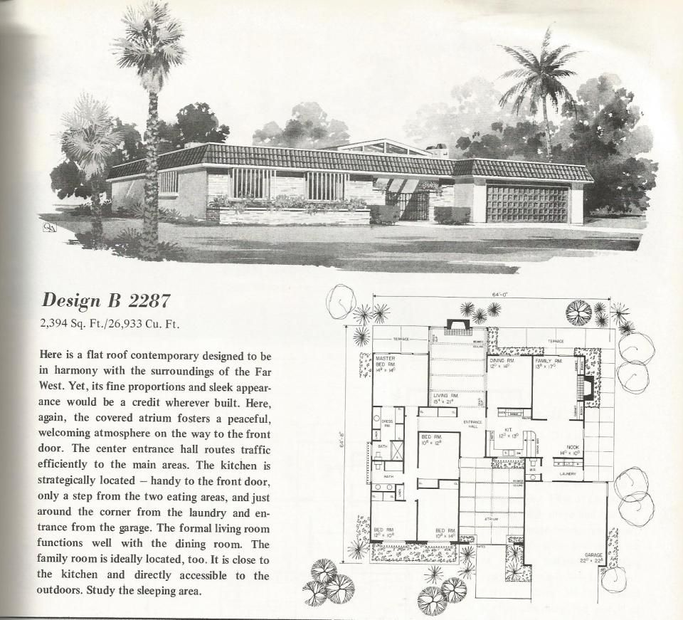 Vintage House Plans, Mid Century Homes, large homes Design ...