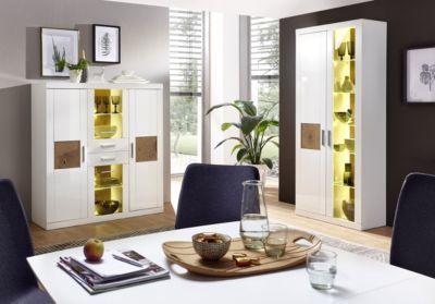 Wohnzimmer Hochglanz ~ Highboard mit vitrine weiss hochglanz hirnholz mit beleuchtung