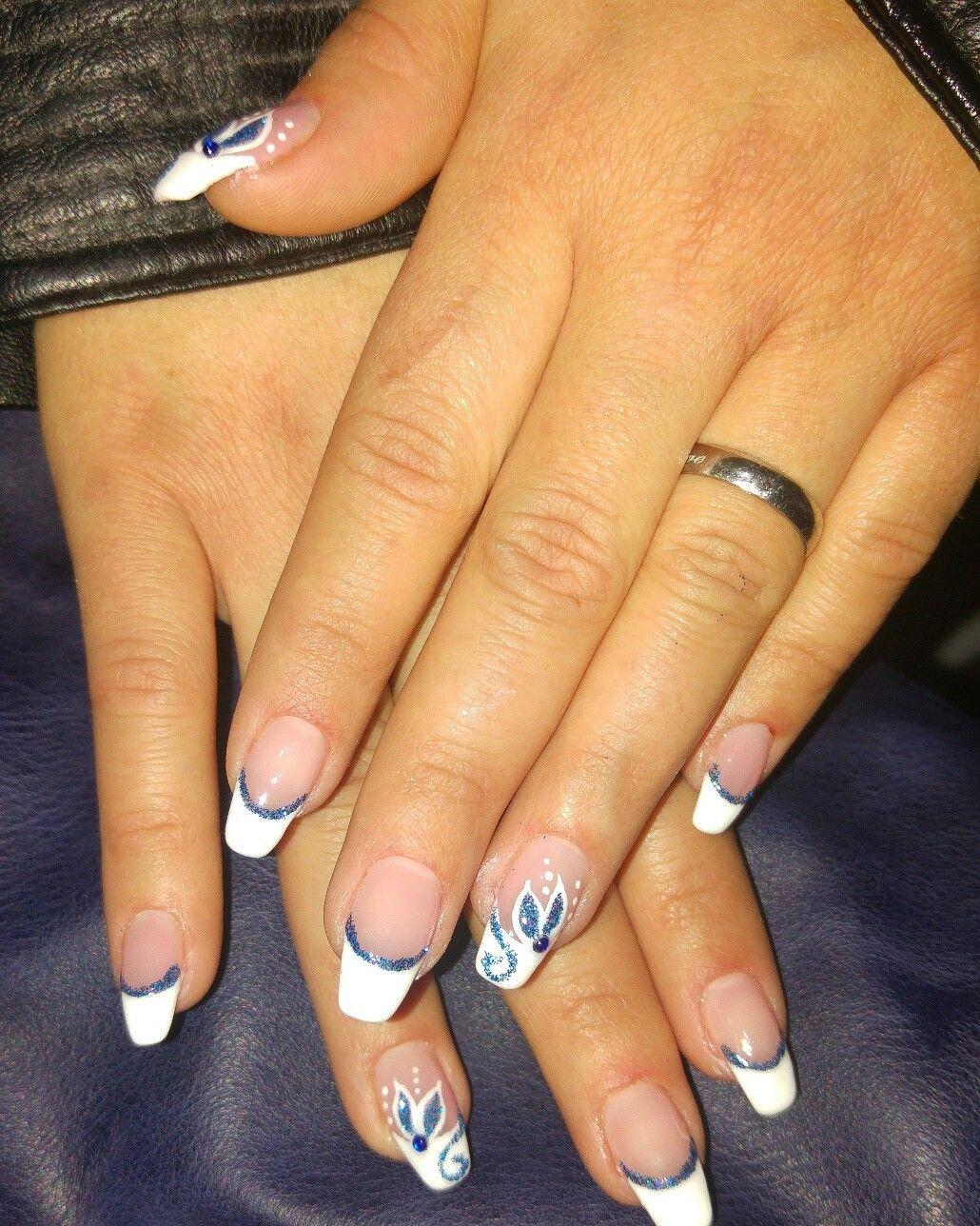 Fiori Nail Art.French Bianco Perfilino Blu Glitter Fiori Fiori