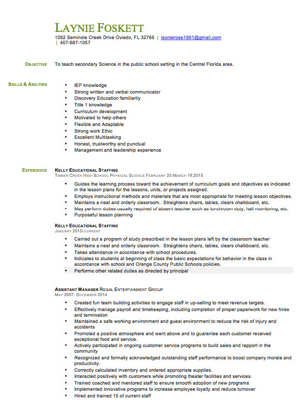 Educational Assistant Resume Samples Laynie Foskett  Seminole