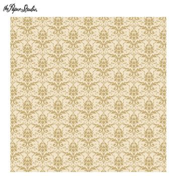 "Gold Dainty Damask Scrapbook Paper - 12"" x 12"""