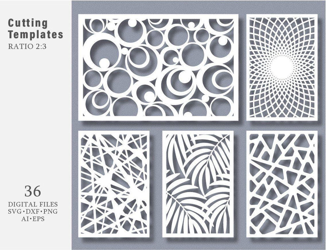 36 SVG DXF Eps Png Bundle Cut Template Modern Decorative