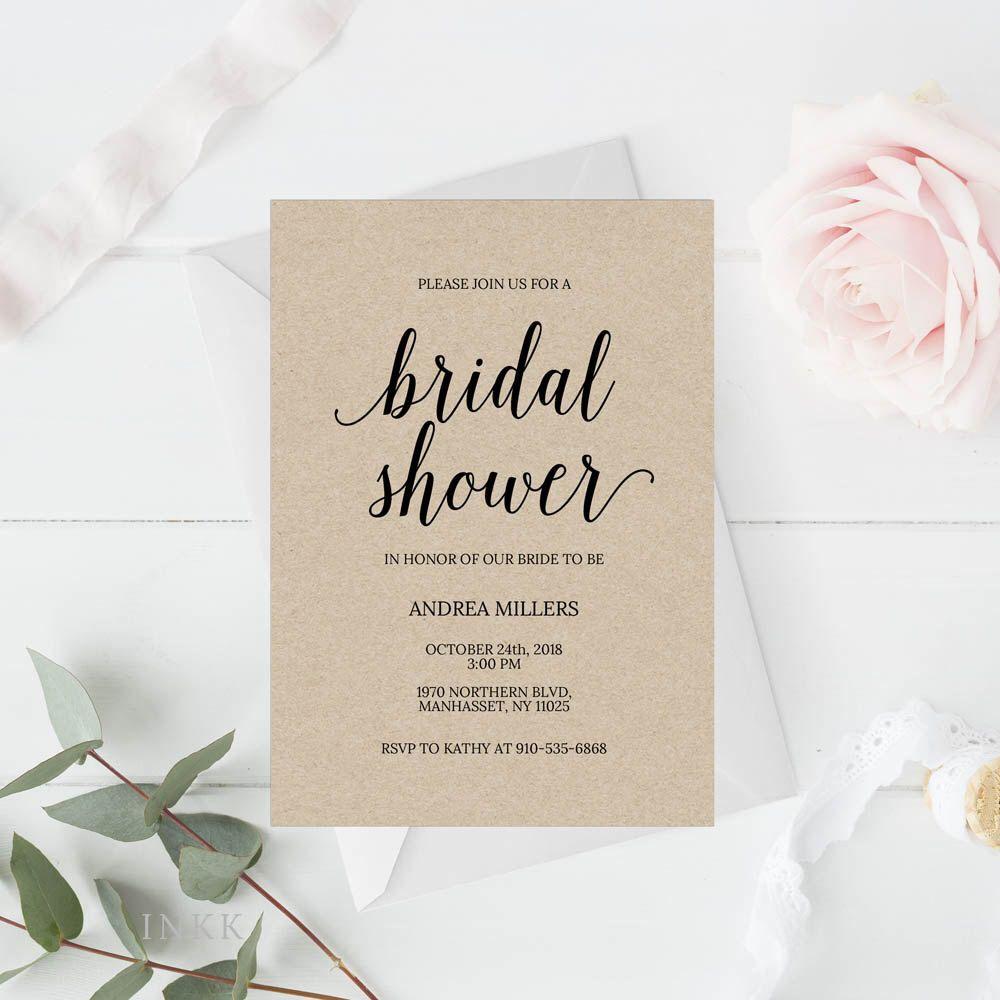 Bridal Shower Invitation Template Rustic Bridal Shower Wedding
