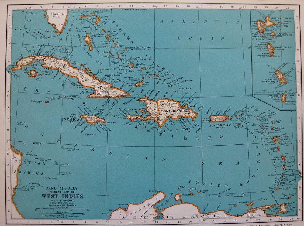 1937 antique west indies map vintage caribbean map gallery wall art walls gumiabroncs Gallery