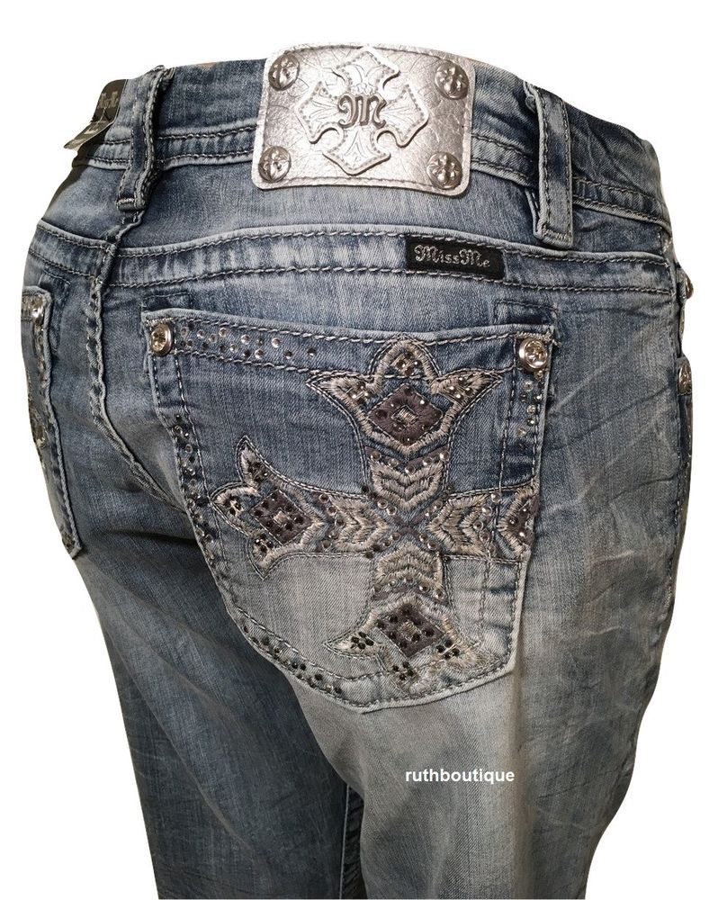 0b532bb1e07 Miss Me Size 33 FITS 34 (17 18) Easy Boot Mid-Rise Boot Stretch Jeans  JE8453ER  MissMe  EasyBootBootCut