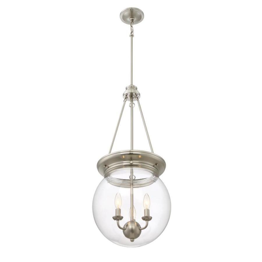 Quoizel Soho Brushed Nickel Industrial Clear Glass Bowl Pendant Light Lowes Com Pendant Light Bowl Pendant Glass Bowl