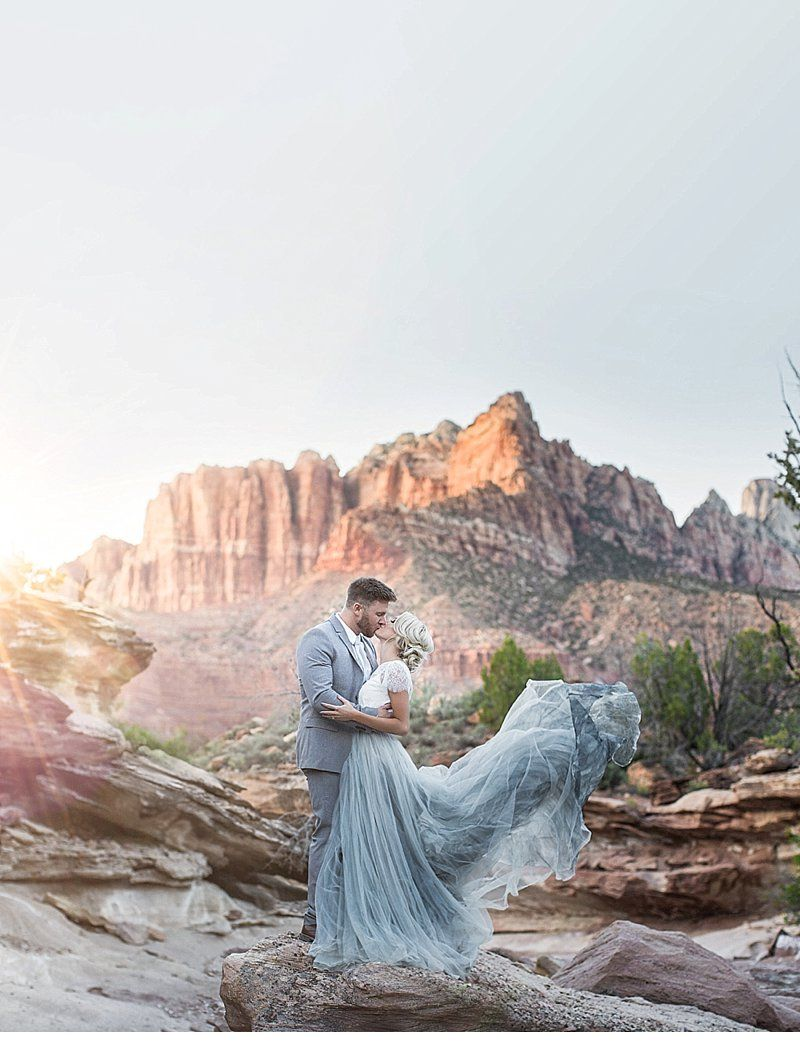 Romantic Wedding Inspirations at Zion National Park by Tyler Rye Photography