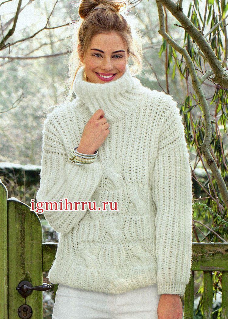 уютный белый свитер с объемными косами вязание спицами Les