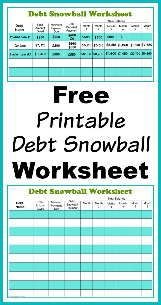 Free Printable Debt Snowball Worksheet- Pay Down Your Debt! | Living ...