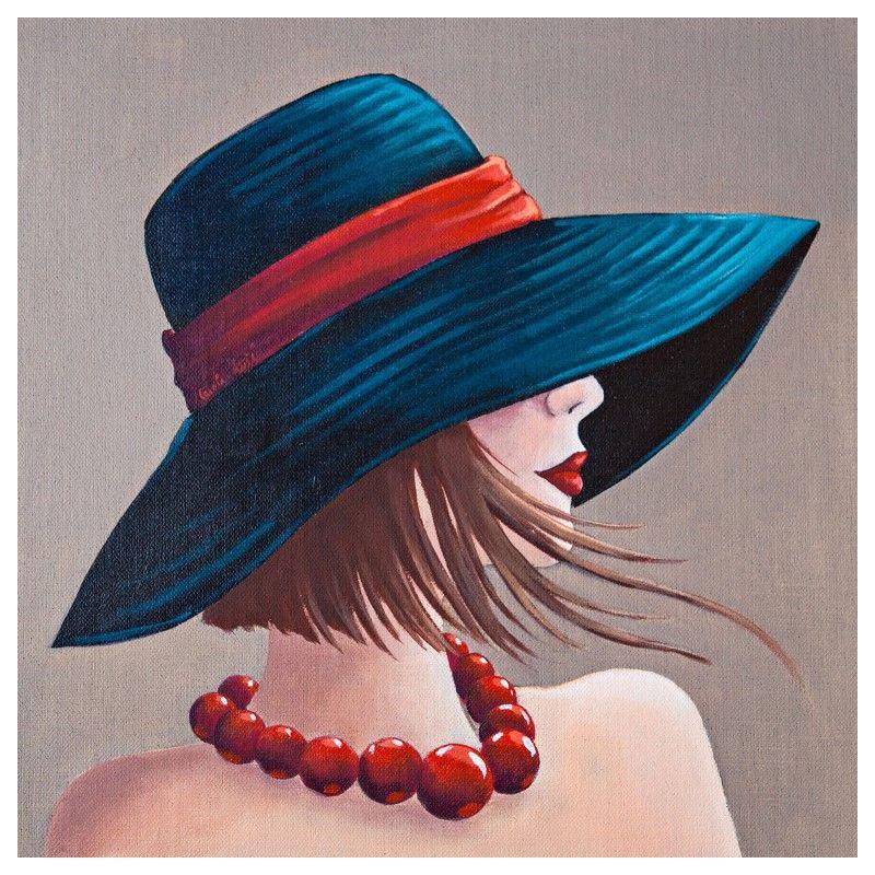 tableau peinture femme avec chapeau