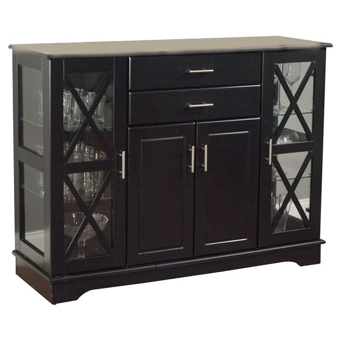 black wood buffet dining-room sideboard with glass doors | home