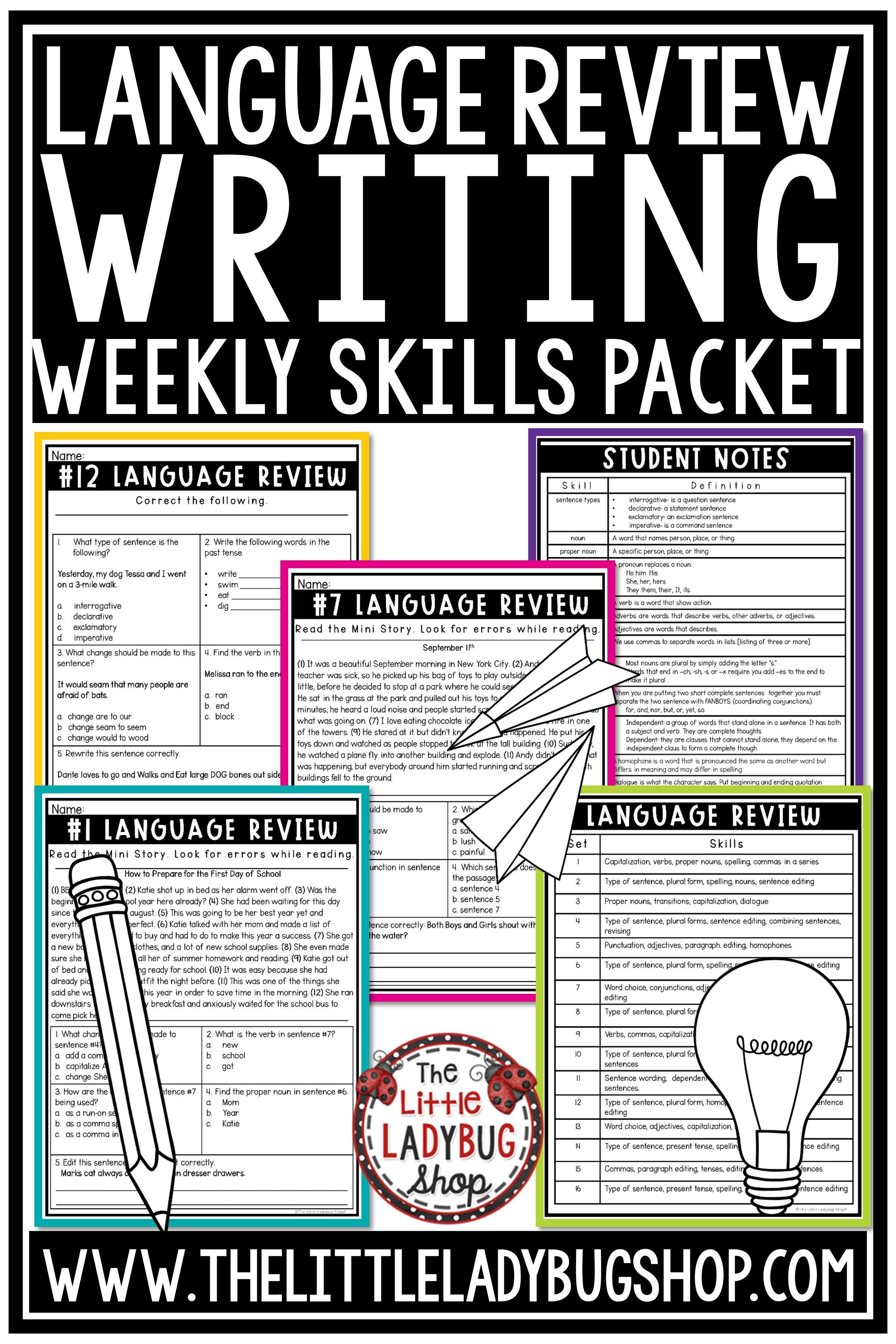 Set 1 Language Weekly Practice 3rd Amp 4th Grade Grammar