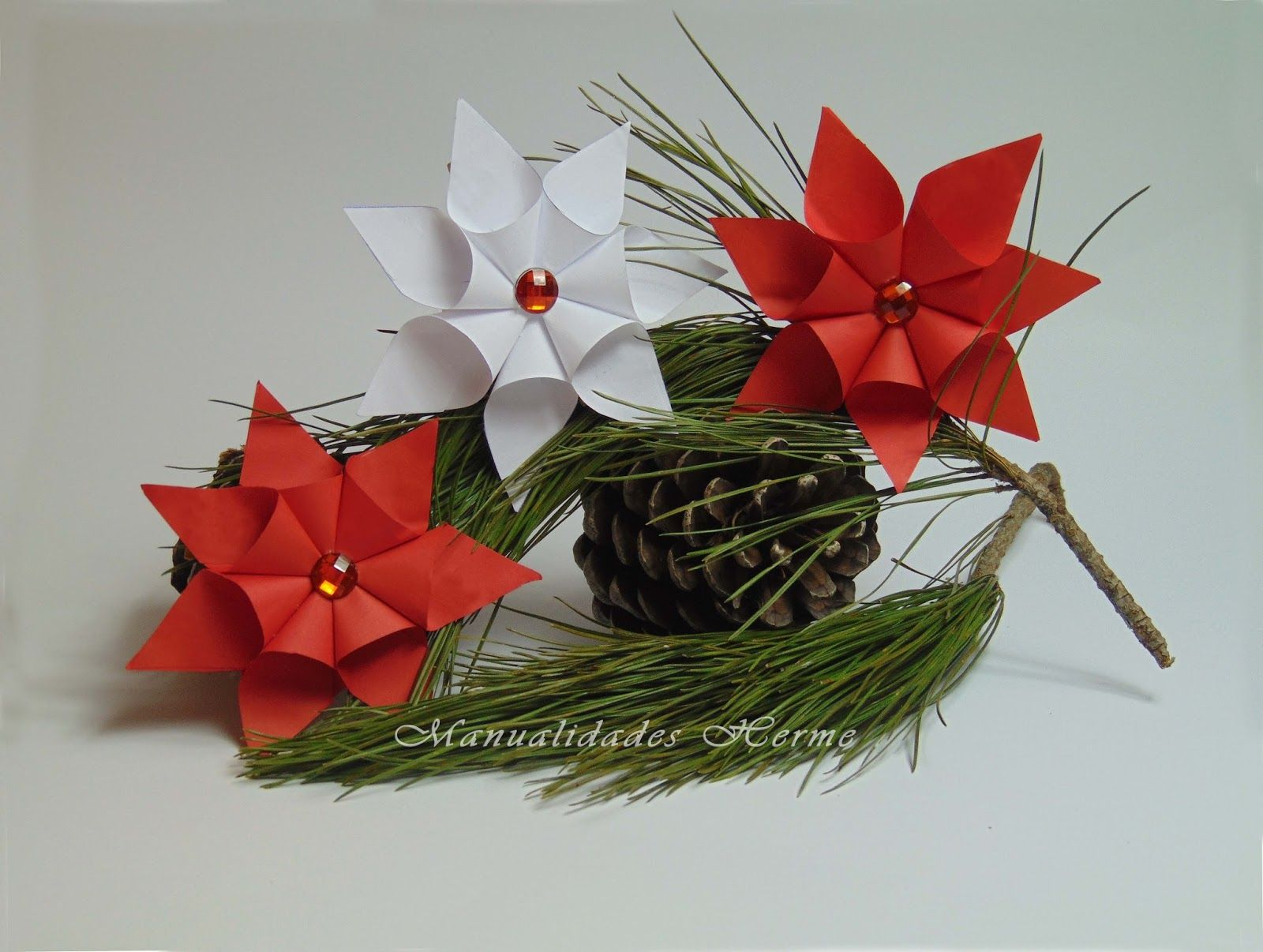 Diy flor de pascua de papel origami manualidades and for Manualidades para pascua