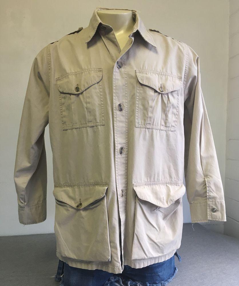 1228ff777a2bb CC FILSON Shirt Vtg SAFARI BUSH Jacket Khaki Tan Cotton Light Men s Sz 44  L XL  CCFilson  ButtonFront