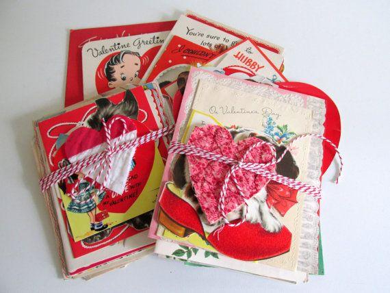 Vintage Valentine's Cards Craft Supply by RollingHillsVintage