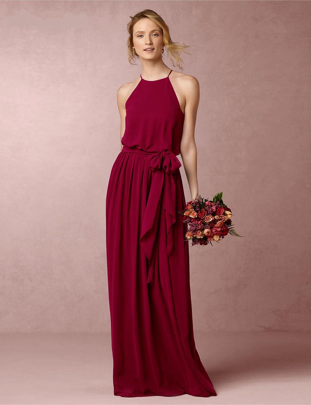Elegant halter wine red floor length made maid of honor bridesmaid