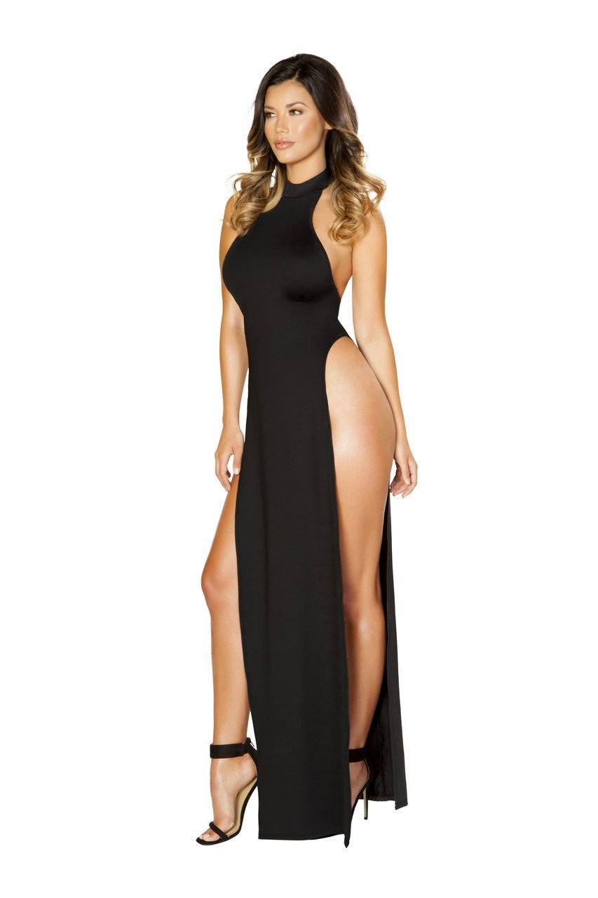 6f64d5ece65 Sexy Roma Black Halter Backless Sky High Revealing Leg Slits Maxi Dress Gown  Cocktail Party Clubwear