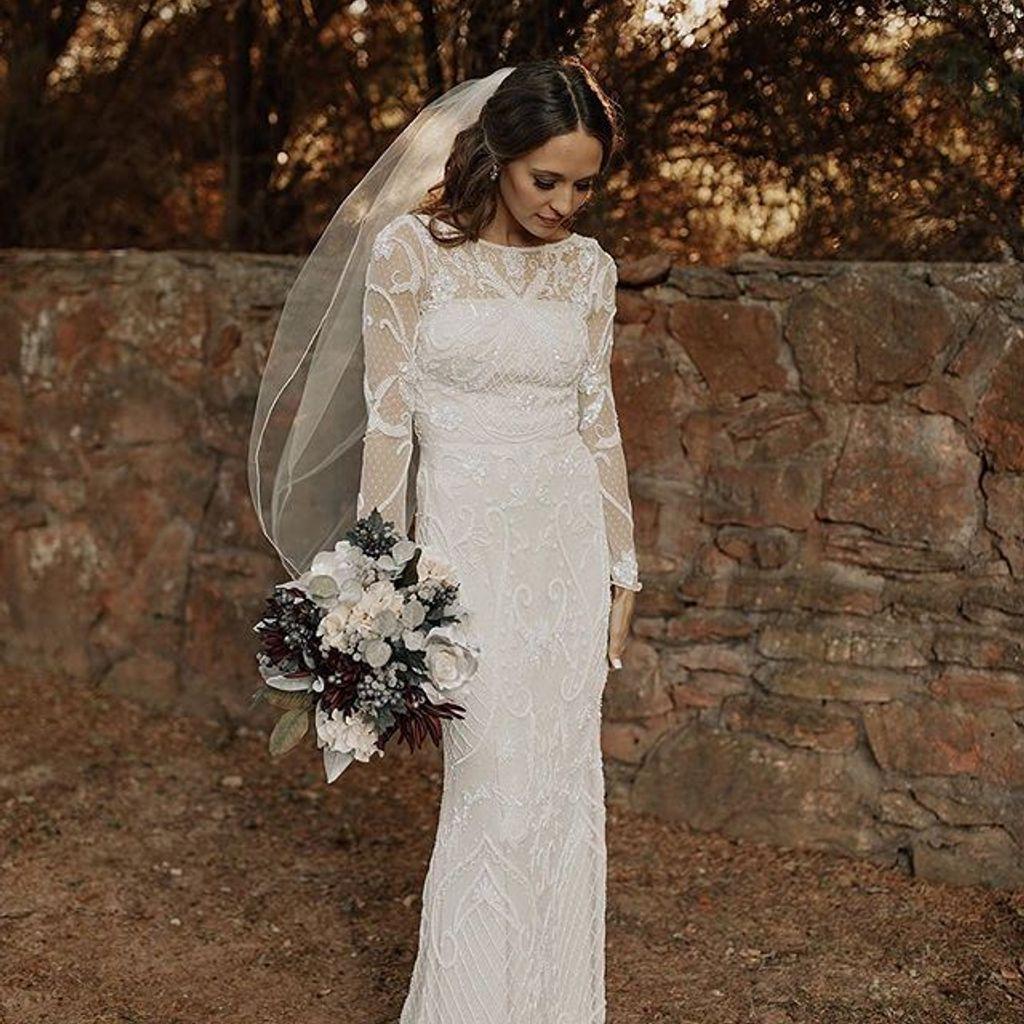 Allover Scroll Beaded Illusion Long Sleeve Gown David S Bridal Illusion Wedding Dress Wedding Dresses Beaded Wedding Dress Long Sleeve [ 1024 x 1024 Pixel ]