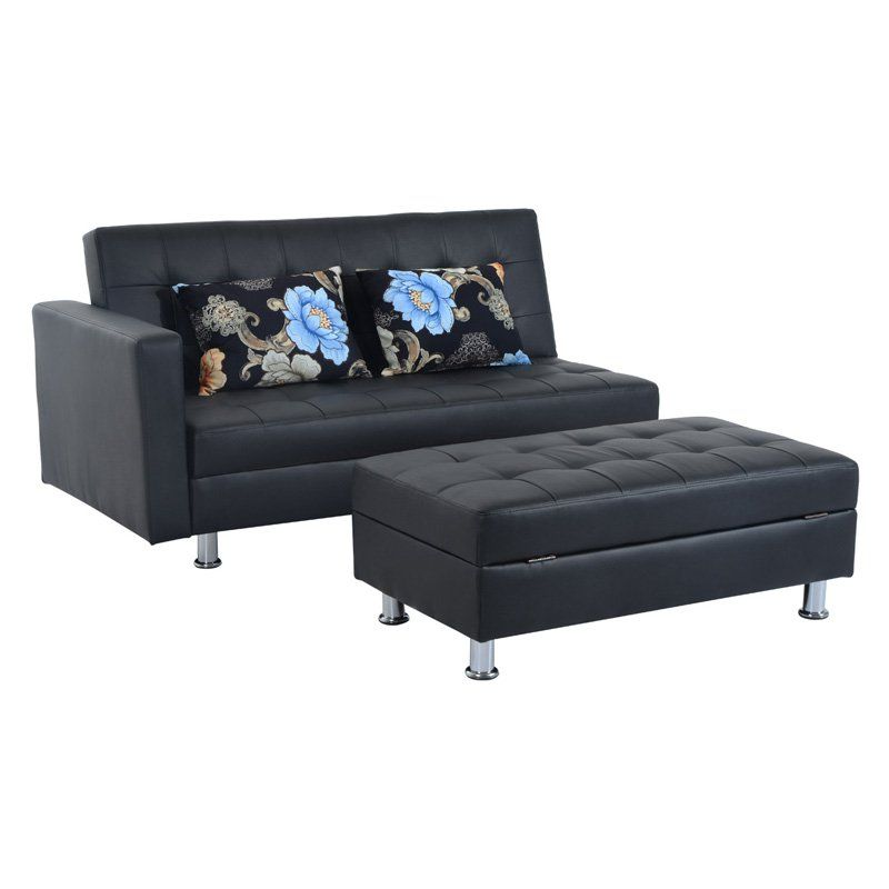 Homcom Faux Leather Convertible Sofa Sleeper Bed With Storage