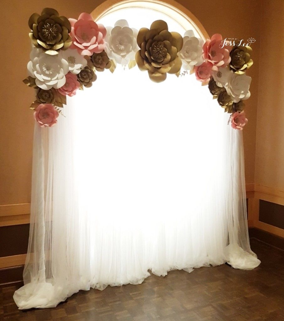 Pink White And Gold Paper Flower Backdrop For A 50th Birthday Celebration Made By Je 70th Birthday Decorations Pink And Gold Decorations Gold Birthday Party