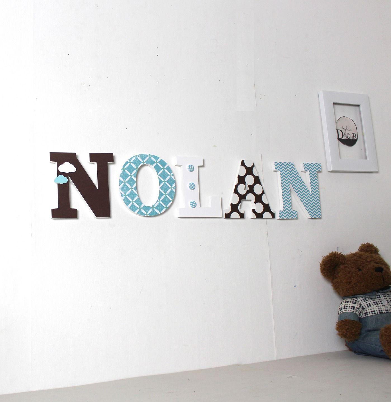 Prénom NOLAN personnalisé marron, bleu - lettres personnalisées ...