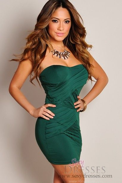 7c1bbe0299c0 Sexy Emerald Green Pleated Wrap Mini Tube Dress | Dream Closet ...
