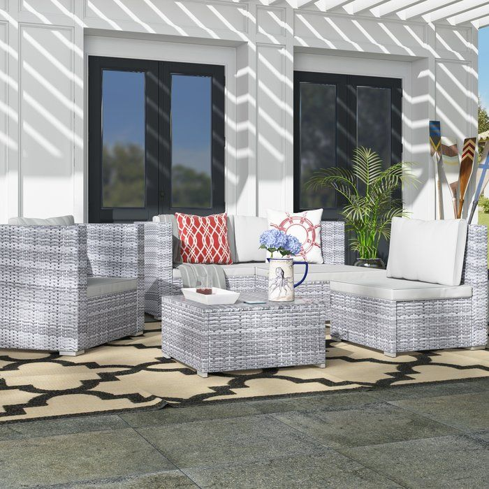 Augusta 6 Piece Sectional With Cushions Outdoor Sofa Sets Seating Groups Deep Seating