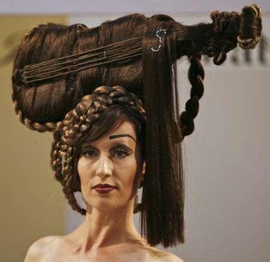 violin hair art. Now that's dedication.