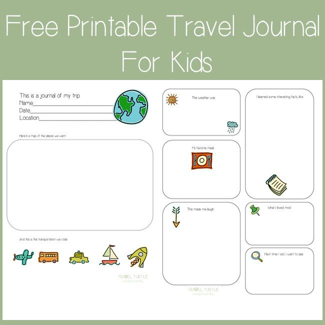 Free Printable Travel Journal for Kids from Travel Turtle | Travel ...