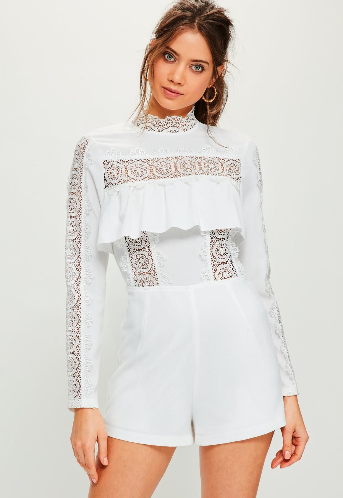 94418385e94 White Lace Insert Frill Long Sleeve Romper - Missguided