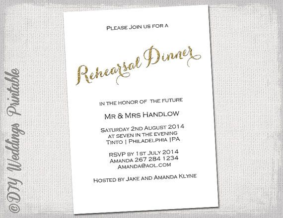 "Dinner Invitation Template Rehearsal Dinner Invitation Template ""gold Glitter"" Diy Printable ."