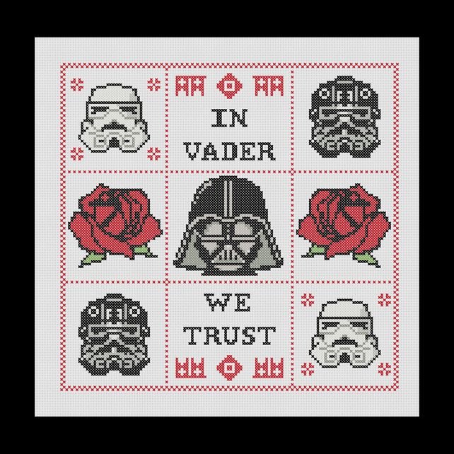 In Vader We Trust Darth Vader Inspired Cross Stitch Pattern 250
