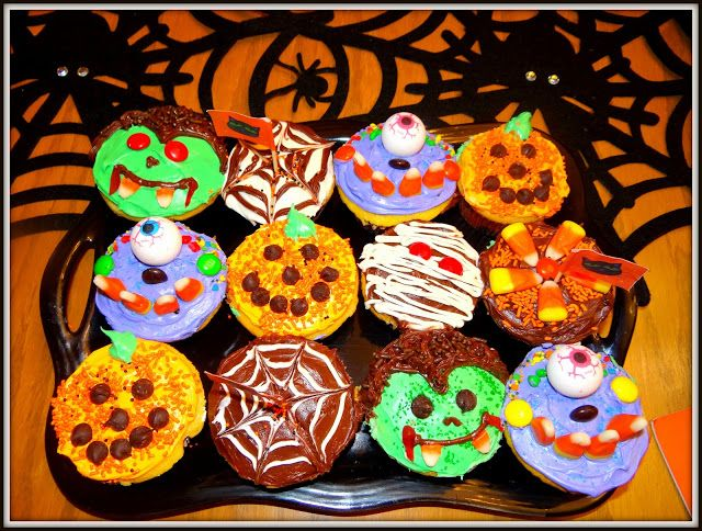 Weekday Chef Halloween Cupcakes and Skeleton Brownies Holidays - decorating ideas for halloween cupcakes