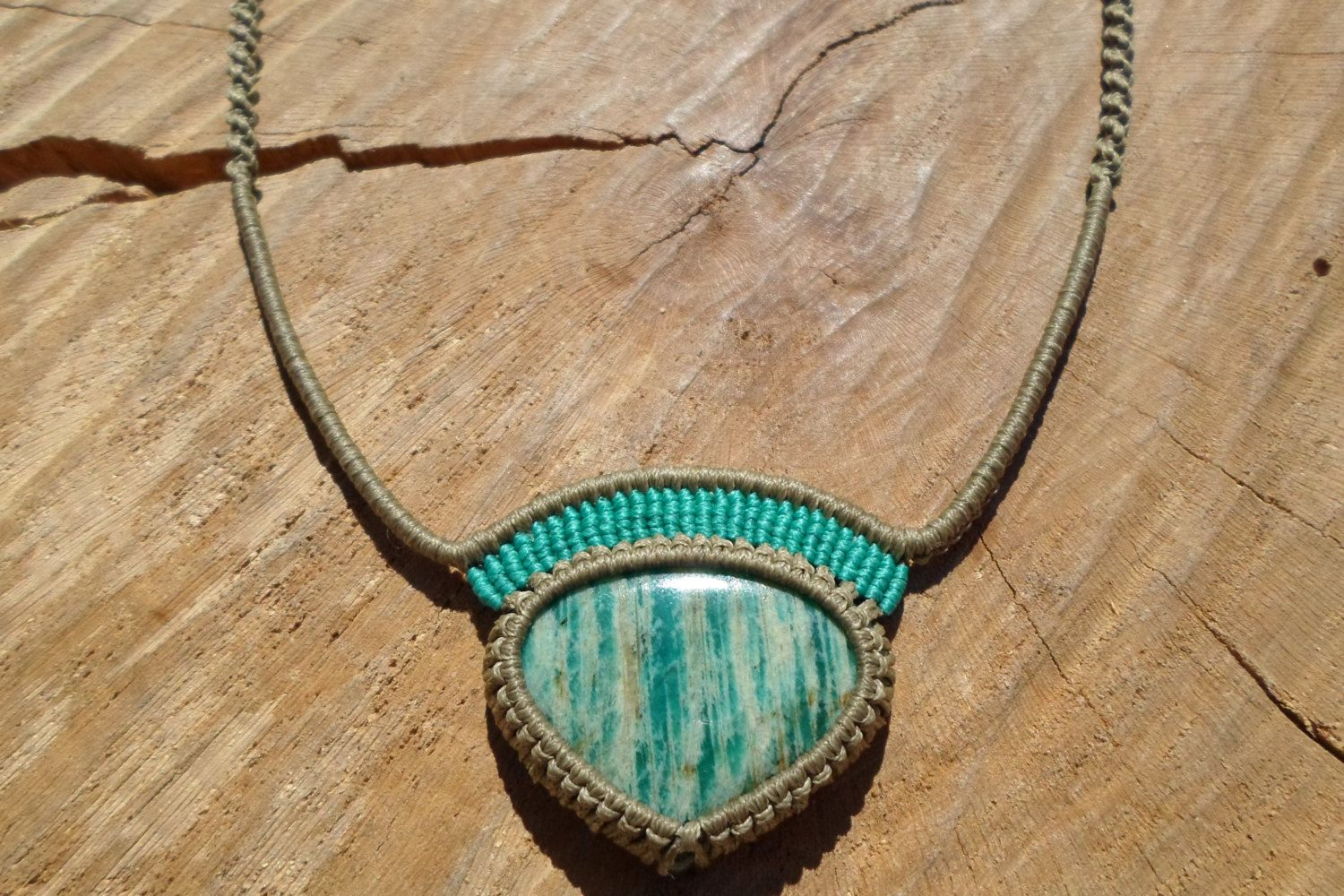 turquoise and grey Macrame necklace with amazonite