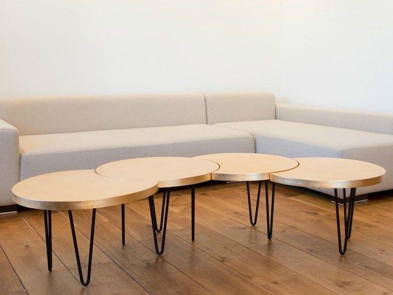 Adjustable oak coffee table for living room ORUGA - QoWood