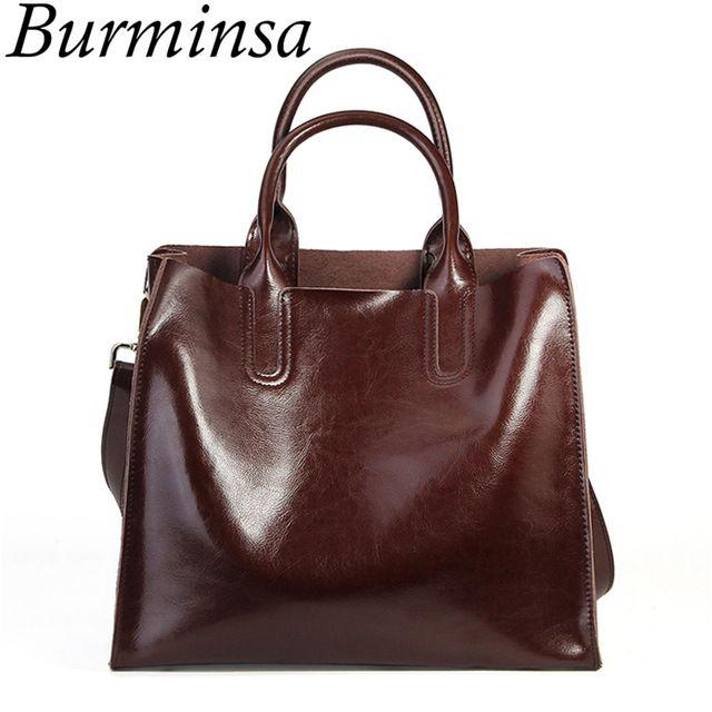 180b56117d8d Burminsa Brand Real Leather Handbags Ladies Genuine Leather Tote Hand Bags  Female Designer Shopper Shoulder Bags For Women 2018 Review