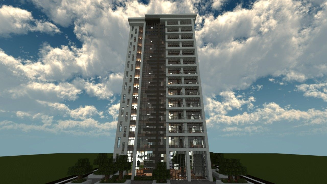 A Tall Apartment Complex Created In Minecraft. It Uses Modern Architecture  To Mimic A Luxury Appeal In Minecraft.