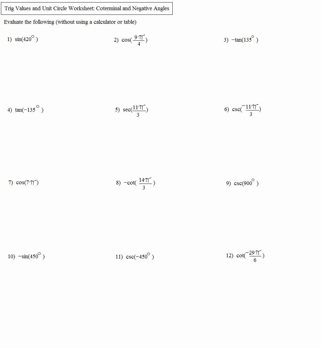 Unit Circle Practice Worksheet Inspirational Math Plane Unit Circle And Trigonometry Measures In 2020 Practices Worksheets Trigonometry Word Problem Worksheets