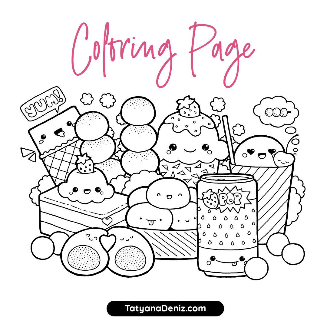 Free Coloring Page With Kawaii Food Doodle Printable Pdf In 2021 Free Coloring Pages Doodle Coloring Free Coloring