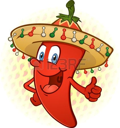 Sombrero Hot Chili Pepper Thumbs Up personaje de dibujos animados Foto de  archivo 1c67d2632e4