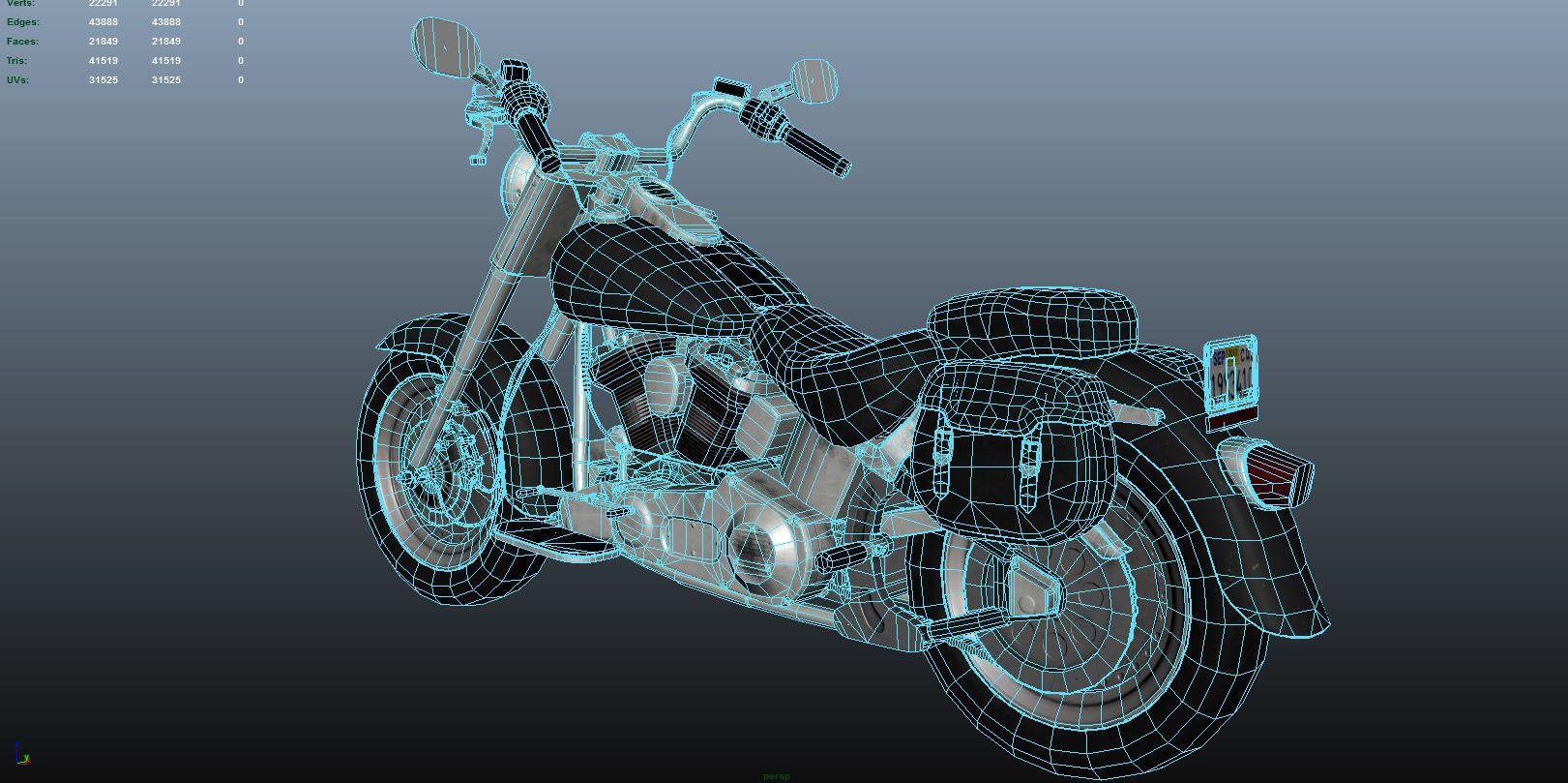3D model PBR Motorcycle lowpoly VR / AR / low-poly OBJ FBX MA MB