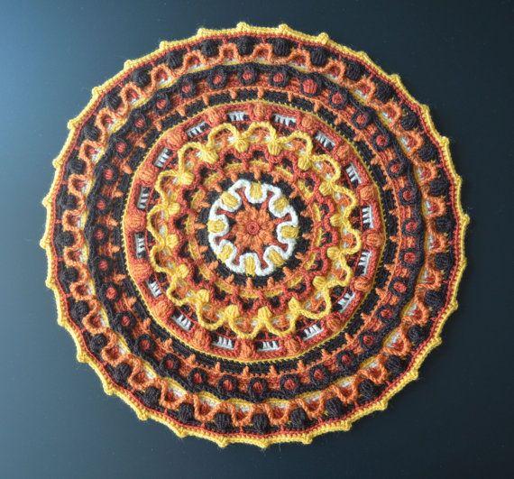 mandala au crochet rond set de table d coration de taie d 39 oreiller et de m ditation knot so. Black Bedroom Furniture Sets. Home Design Ideas