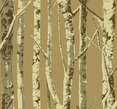 Birch Trees - Cream on LIght Brown  [WAB-1007] Trees and Twigs | DesignerWallcoverings.com ™ - Your One Stop Showroom for Custom, Natural, & Specialty Wallcoverings | Largest Selection of Wall Papers | World Wide Showroom | Wallpaper Printers